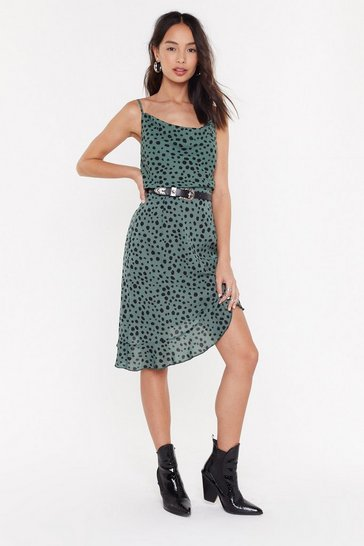 Womens Green Dot to Worry Spotty Ruffle Midi Skirt