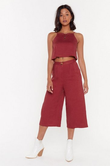 Womens Brick High Neck Cami + Culotte Linen Co-Ord