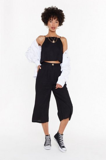 Womens Black Pair Up Linen Crop Top and Pants Set