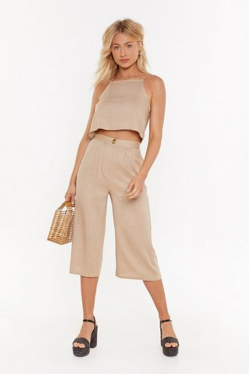 Womens Beige High Neck Cami + Culotte Linen Co-Ord