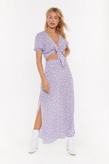 Womens Lilac Wrap Top and Split Maxi Skirt Co-Ord