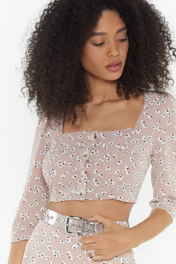 Womens Pink Plant Touch This Floral Square Neck Crop Top