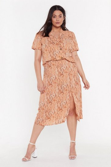 Womens Peach Let's Make Art Plus Abstract Midi Skirt