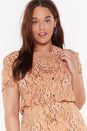 Womens Peach Jot It Down Scribble Print Shirt
