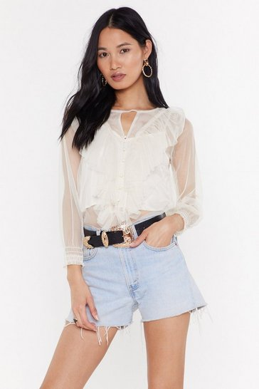 Womens Cream Pearls On Film Mesh RuffleTop