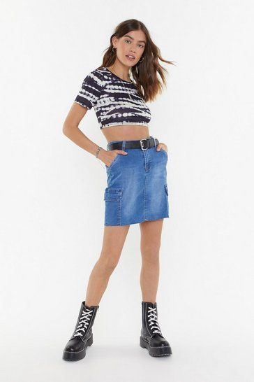Womens Mid blue Denim Rome Utility Mini Skirt