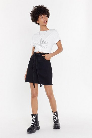 Womens Black Waist It On Me Denim Paperbag Skirt