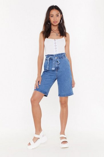 Womens Mid blue All Summer Longline Denim Shorts
