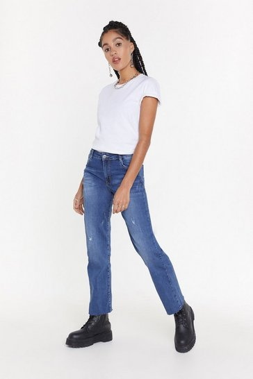Womens Mid blue Up to Scratch Straight-Leg Distressed Jeans