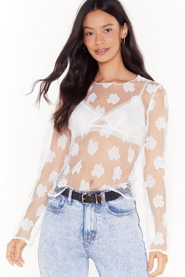 Womens White Sheer Floral Long Sleeve Top