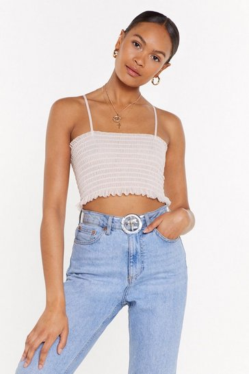 Womens Nude Mesh Fully Shirred Crop Cami