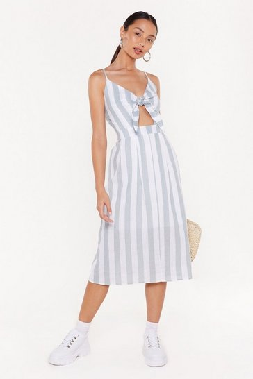 Womens Sage Straight to the Point Striped Tie Dress