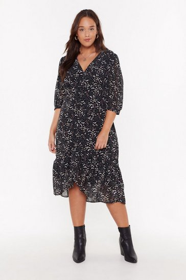 Womens Black Spring Fever Plus Floral Midi Dress
