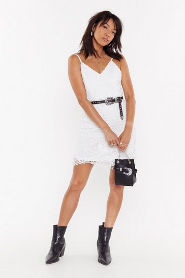 Womens White In Lace You Didn't Know Crochet Mini Dress