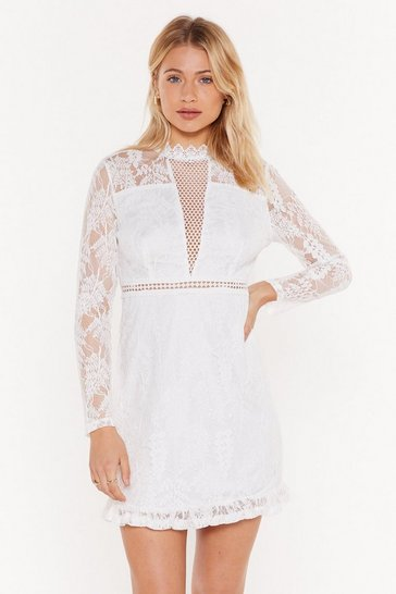 Womens White Lace Do This High Neck Mini Dress