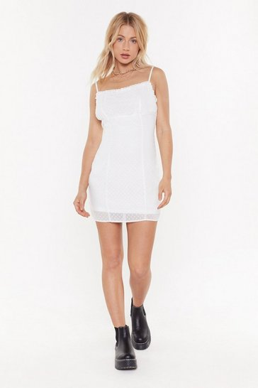Womens White Dobby Tie Shoulder Mini Dress
