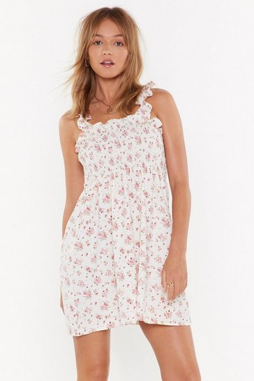 Womens White Flower Hour Shirred Mini Dress