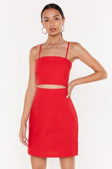 Womens Red Searching for My Strappy Ending Mini Dress