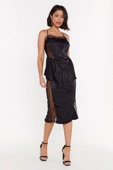 Womens Black Smooth Things Over Lace Midi Dress