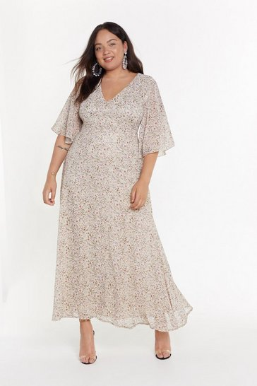 Womens Nude It's a Spring Affair Plus Maxi Dress