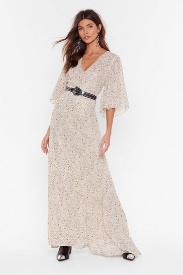 Womens Nude Plant Buy Me Love Floral Maxi Dress
