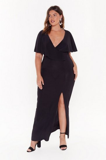 Womens Black Wrap This Up Plus V-Neck Maxi Dress