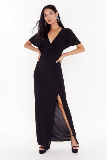 Womens Black Cape Verde Slit Maxi Dress