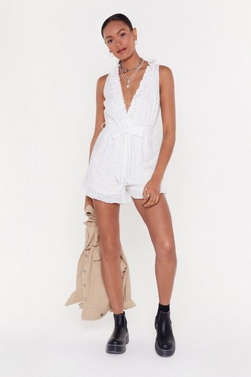 Womens White Broderie Plunge Ruffle Romper