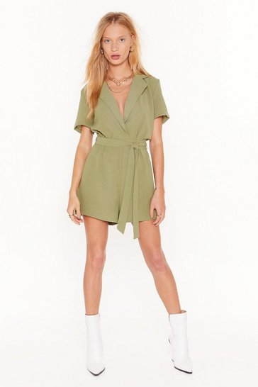 Womens Khaki Another Day Another Collared Belted Romper