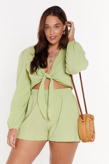 Apple green We Don't Play Games Plus Tie Romper