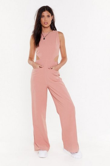 Womens Pink Linen Round Neck Sleeveless Wide Leg