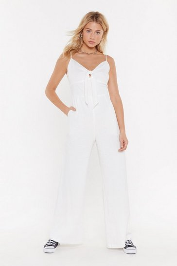 Womens White Linen Tie Front Wide Leg Jumpsuit