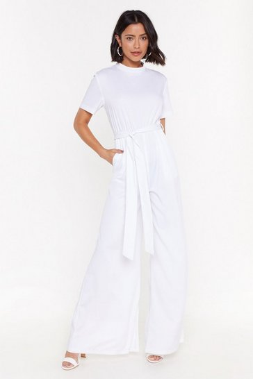 Womens White Nothin' Gonna Break My Stride Wide-Leg Jumpsuit