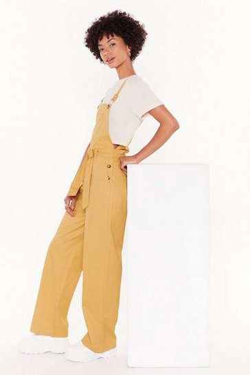 Womens Camel Let's Work It Out Relaxed Tie Overalls