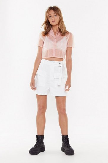 Womens White Take Me on a Wild Ride Utility Shorts