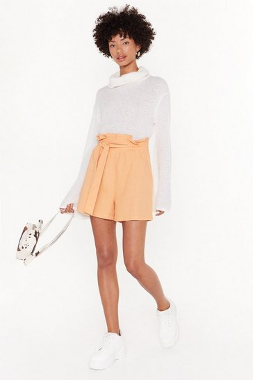 Womens Peach It's in the Paperbag Belted Shorts