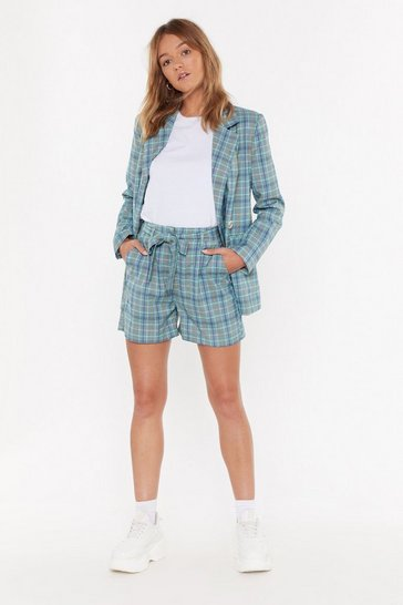 Womens Green Checked Shorts