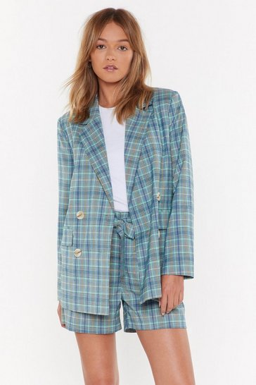 Womens Green Don't Feel Plaid Relaxed Blazer