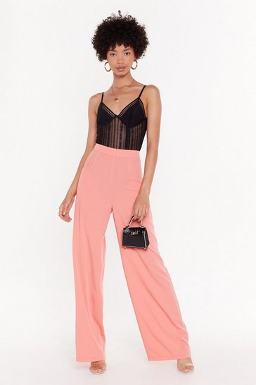 Womens Coral Don't Waist My Love Wide-Leg Pants