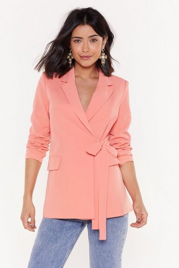 Womens Coral Belted Wrapover Blazer