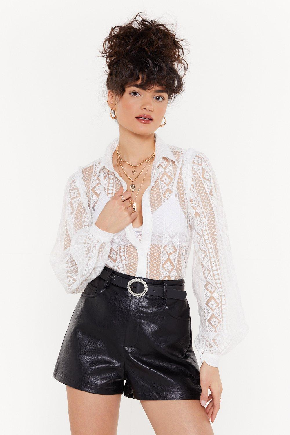 Lace The Facts Sheer Shirt by Nasty Gal