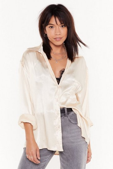 Womens Cream Satin for Glory Oversized Shirt