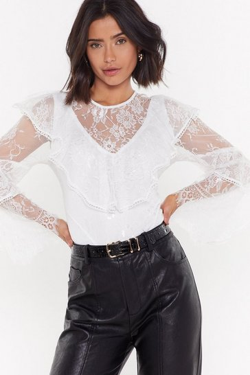 Womens Cream Not a Flounce of Regret Lace Ruffle Blouse