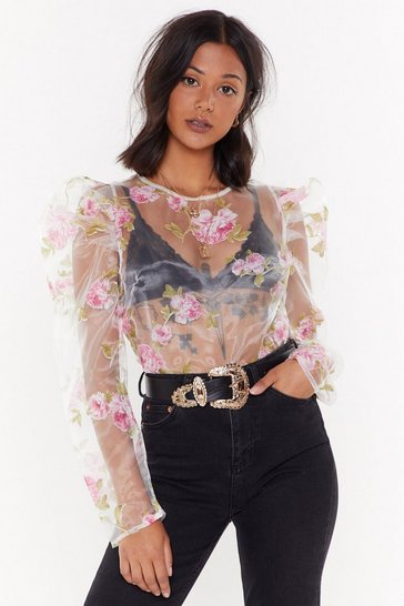 Womens Pink Gard-en My Heart Sheer Floral Top