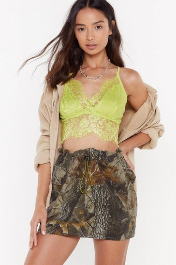 Womens Lime Lace Get Going Scalloped Bra Top