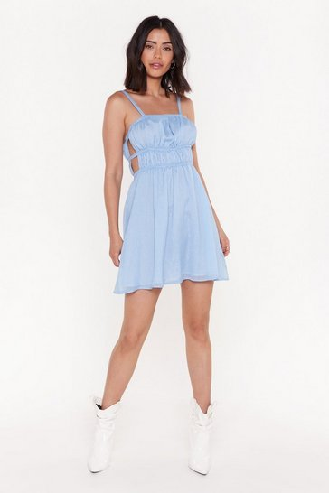 Womens Blue Cut 'Em Out Ruched Mini Dress