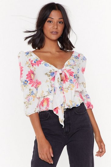 Womens White Into the Field of Love Floral Tie Bodysuit