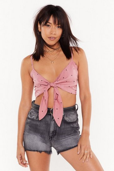 Womens Rose You Dot the Love Polka Dot Tie Bra Top