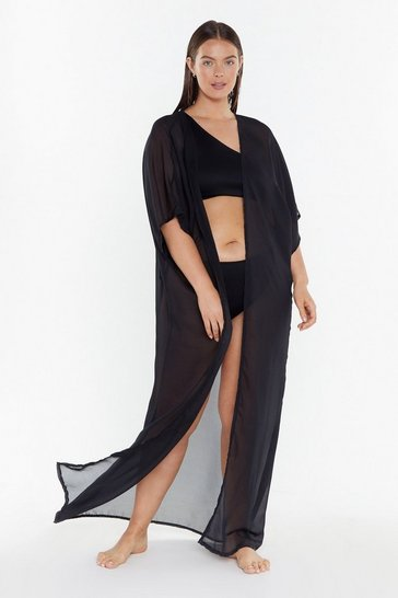 Womens Black Did You Sheer Me Plus Longline Cover-Up Kimono