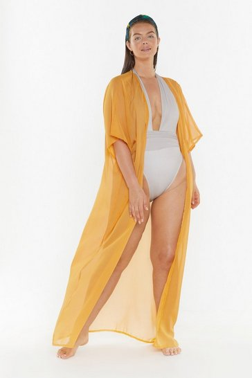 Womens Tobacco Did You Sheer Me Plus Longline Cover-Up Kimono